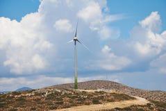 风轮机,蒂洛斯岛海岛 库存照片
