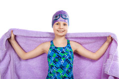风镜和泳帽的女孩 免版税库存照片