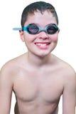 风镜的青少年的男孩 免版税库存照片
