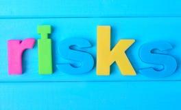 风险在桌上措辞 免版税库存照片