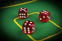 风险概念-演奏在一张绿色赌桌上的模子 打与模子的一场比赛 红色赌博娱乐场模子卷 滚动模子概念 免版税库存图片