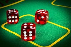 风险概念-演奏在一张绿色赌桌上的模子 播放grisk概念-演奏在一张绿色赌桌上的模子 使用 免版税库存照片