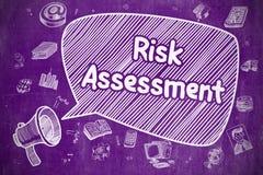 风险评估-在紫色黑板的动画片例证 向量例证