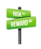 风险,奖励路标例证 免版税库存图片