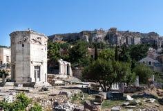 风雅典希腊的塔 免版税库存照片