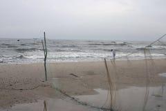 风雨如磐海滩的子项 库存照片