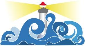 风雨如磐灯塔的海运 免版税库存图片