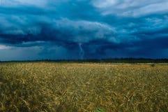 风雨如磐的云彩和雷在领域上 免版税库存照片