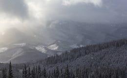 风雨如磐的冬天山 库存照片
