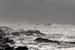 风雨如磐的岩石海岸 免版税图库摄影