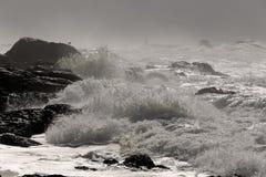 风雨如磐的岩石海岸 图库摄影
