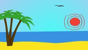 风震动棕榈,海洋,太阳,海鸥 皇族释放例证