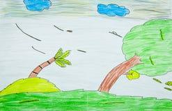 风暴-与色的铅笔的图画 库存照片