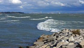 风暴在伊利湖 免版税库存图片