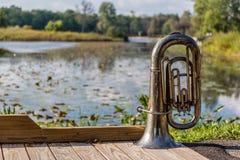 风琴在公园 库存照片