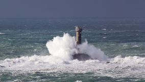 风暴在土地末端康沃尔郡英国 免版税库存照片