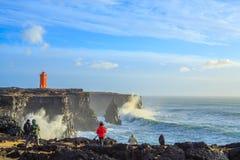 风暴在离冰岛的海岸的附近 图库摄影