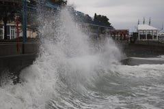 风暴黑海冬天海恶劣天气寒冷 免版税库存照片