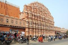 风Hawa Mahal-宫殿,斋浦尔,印度。 免版税库存图片