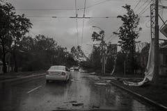 飓风在市塔甘罗格,罗斯托夫地区,俄罗斯联邦2014年9月24日 免版税库存照片