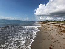 飓风在海滩的迈克尔雨 免版税图库摄影