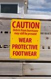 飓风小心标志 免版税库存图片