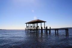 飓风损坏的独立码头 免版税库存照片