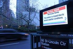 飓风桑迪地铁预警 免版税库存图片