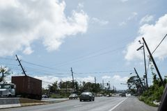 飓风玛丽亚损伤在Hatillo,波多黎各 库存照片