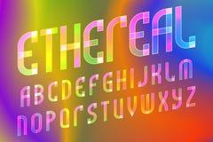 飘渺信件字母表 倾斜的透亮字体 在呈虹彩背景的被隔绝的英语字母表 库存例证