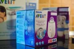 飞利浦Avent婴孩哺养的产品 免版税库存照片