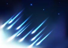 飞星火球,光线明亮的抽象背景,夜a 向量例证