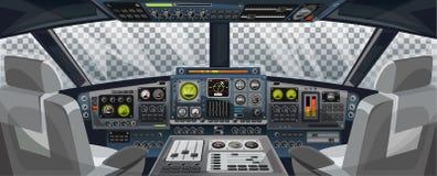 飞机与控制板按钮和透明背景的驾驶舱视图在窗口视图 飞机与仪表板的飞行员客舱 皇族释放例证