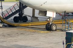 飞机停车处轮子在船坞的 图库摄影