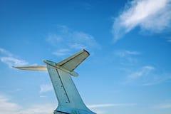 飞机减速火箭的葡萄酒尾巴细节 免版税库存照片