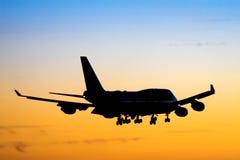 飞机剪影 免版税库存照片