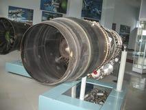 飞机发动机大厦的历史的博物馆 在立场的飞机发动机 涡轮发动机和内燃机 Mo 免版税库存图片