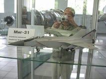 飞机发动机大厦的历史的博物馆 在立场的飞机发动机 涡轮发动机和内燃机 Mo 库存照片