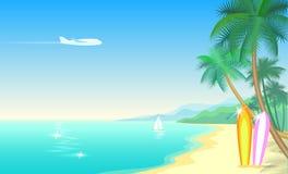 飞机和热带天堂棕榈树冲浪板 晴朗的沙子海岸海滩海海洋风景 向量背景 库存照片