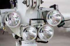 飞机四车灯特写镜头 航空备件和设备 免版税图库摄影