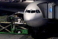 飞机在伊斯坦布尔阿塔图尔克机场IST的货物装货 免版税库存照片
