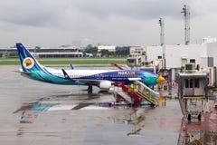 飞机在机场停放的Nok空气 图库摄影
