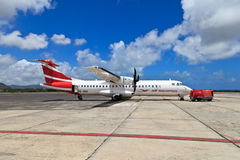 飞机在毛里求斯机场 免版税库存照片