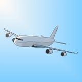 飞机在阳光下,传染媒介例证 免版税库存照片