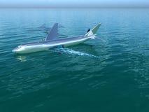 飞机在水中 免版税图库摄影