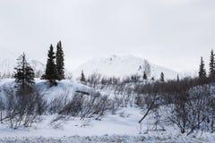飞机场 山 与雪和蓝天的冬天风景 免版税库存图片