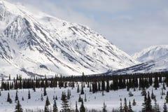 飞机场 山 与雪和蓝天的冬天风景 免版税库存照片