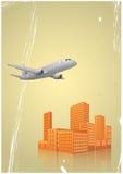 飞机城市 免版税库存图片