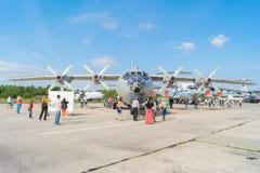 飞机安-12营业日在机场Migalovo 库存图片