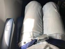 飞机客舱有每个位子的安全带 免版税库存图片